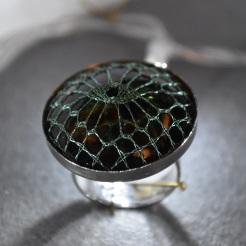 Green Eye Bobbin Lace Ring