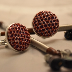 Red and Purple Large Bobbin Lace Cuff Links