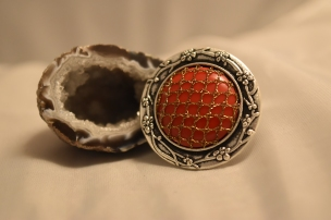 Red & Bronze Bobbin Lace Ring
