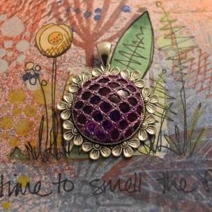 Purple Flower Bobbin Lace Pendant